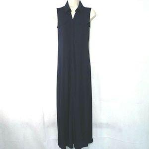 Talbots Sheath Maxi Shirt Dress Women Size XS Navy